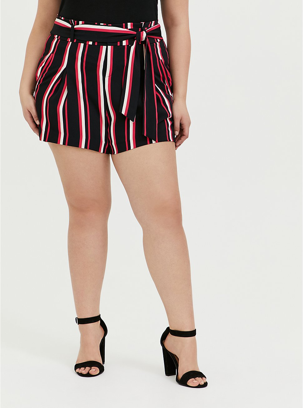 Self Tie Mid Short - Black & Fuchsia Pink Stripe, STRIPES, hi-res