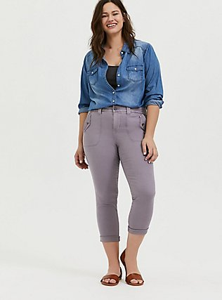 Crop Military Pant - Twill Slate Grey , GRAY RIDGE, alternate