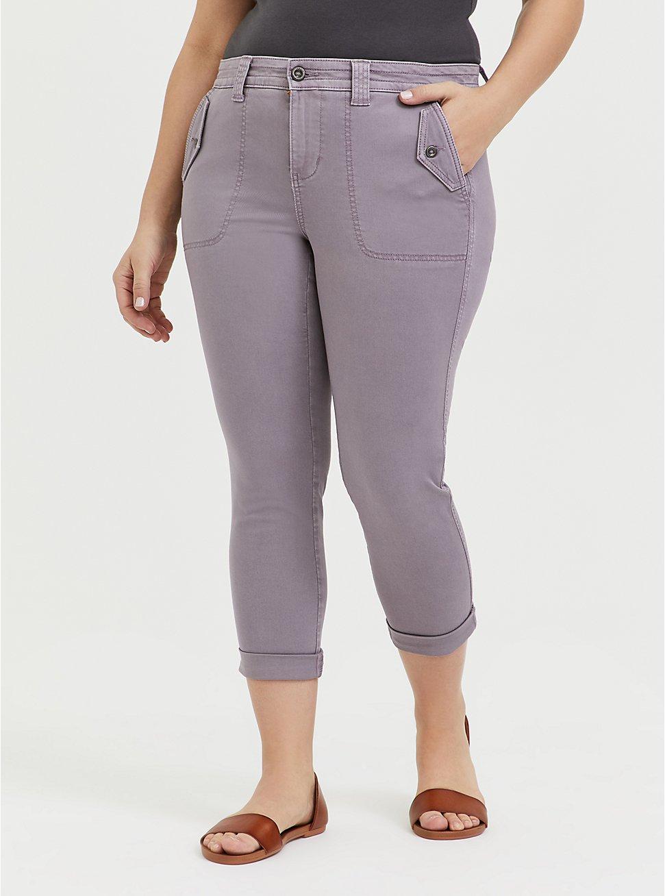 Crop Military Pant - Twill Slate Grey , GRAY RIDGE, hi-res
