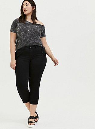Black Twill Military Crop Pant, DEEP BLACK, alternate