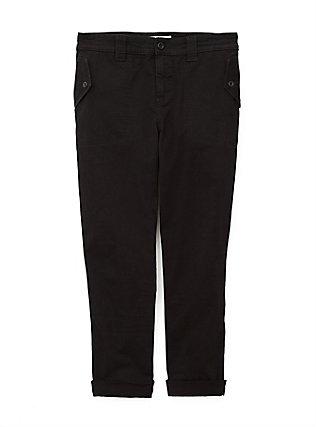 Black Twill Military Crop Pant, DEEP BLACK, flat