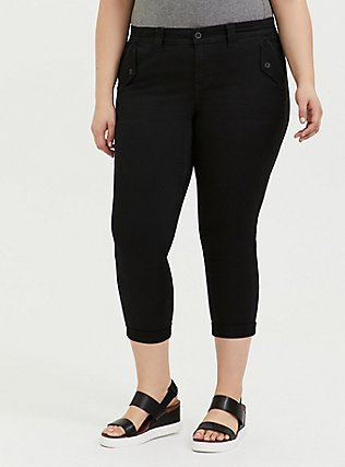 Black Twill Military Crop Pant, DEEP BLACK, hi-res