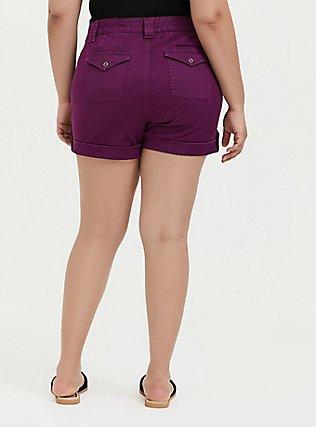 Plus Size Twill Military Short - Plum Purple, DARK PURPLE, alternate