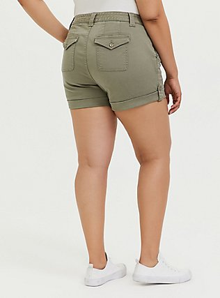 Plus Size Military Short Short - Twill Light Olive Green, VETIVER, alternate