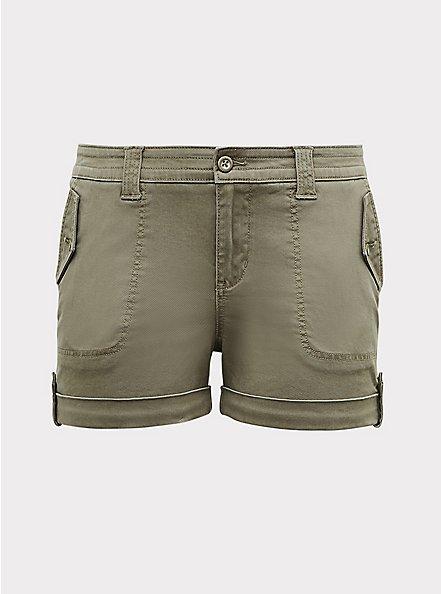 Plus Size Military Short Short - Twill Light Olive Green, VETIVER, hi-res