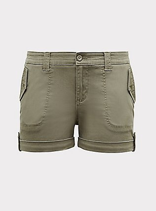Plus Size Military Short Short - Twill Light Olive Green, VETIVER, flat