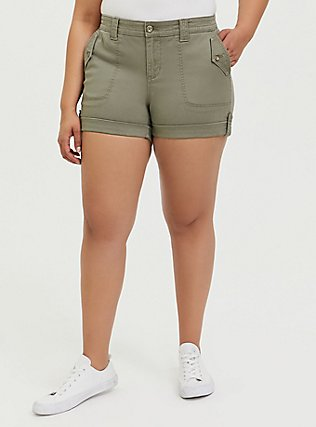 Plus Size Military Short Short - Twill Light Olive Green, VETIVER, hi-res