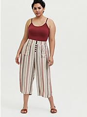 Multi Stripe Twill Button Culotte Pant, STRIPES, alternate