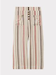 Multi Stripe Twill Button Culotte Pant, STRIPES, hi-res