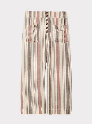 Multi Stripe Twill Button Culotte Pant, STRIPES, flat