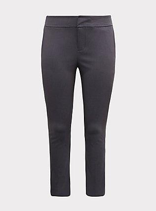 Crop Millennium Stretch Straight Leg Trouser - Dark Slate Grey , NINE IRON, flat