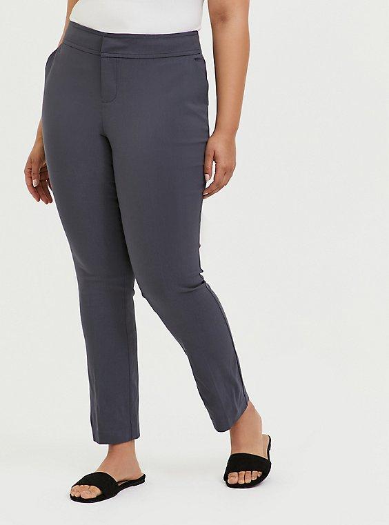 Crop Millennium Stretch Straight Leg Trouser - Dark Slate Grey , , hi-res