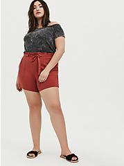 Drawstring Paperbag Waist Mid Short - Ponte Red Terracotta, RED, alternate