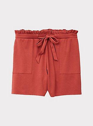 Drawstring Paperbag Waist Mid Short - Ponte Red Terracotta, RED, flat