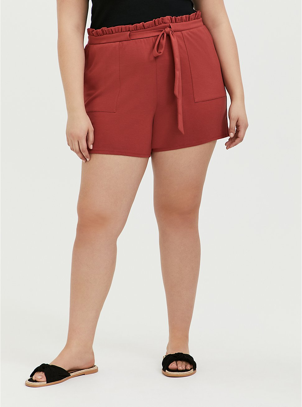 Drawstring Paperbag Waist Mid Short - Ponte Red Terracotta, RED, hi-res
