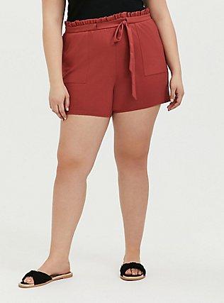 Plus Size Red Terracotta Premium Ponte Drawstring Paperbag Short, RED, hi-res