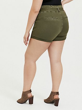 Green Twill Tie-Front Paperbag Short, ARMY GREEN, alternate