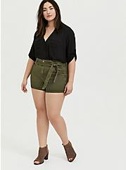 Self Tie Paperbag Waist Short Short - Twill Olive Green , ARMY GREEN, alternate