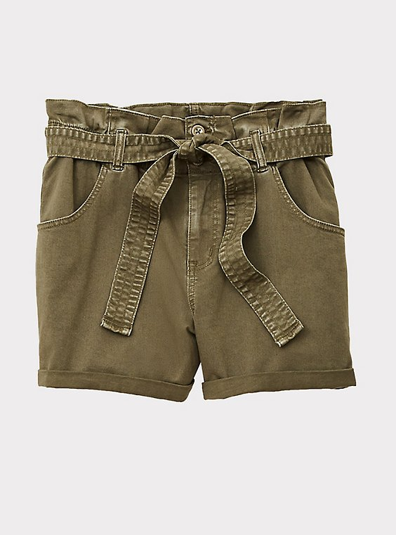 Plus Size Self Tie Paperbag Waist Short Short - Twill Olive Green , , flat