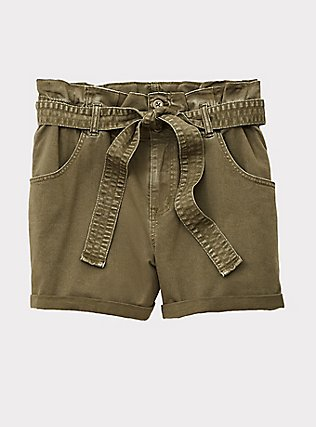 Green Twill Tie-Front Paperbag Short, ARMY GREEN, flat