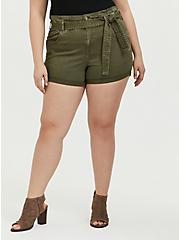 Self Tie Paperbag Waist Short Short - Twill Olive Green , ARMY GREEN, hi-res