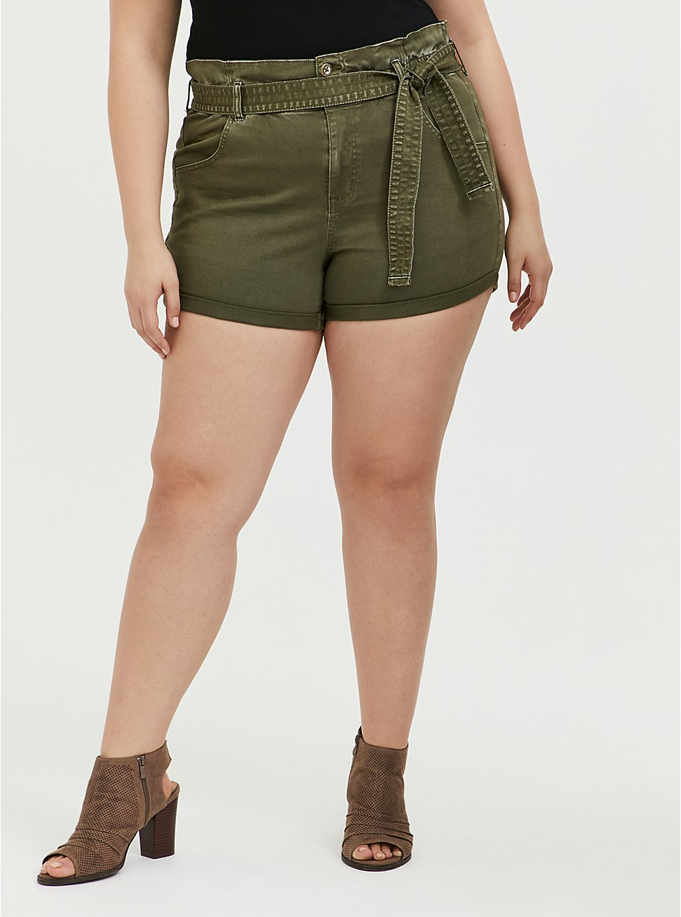 Plus Size Self Tie Paperbag Waist Short Short - Twill Olive Green , , hi-res