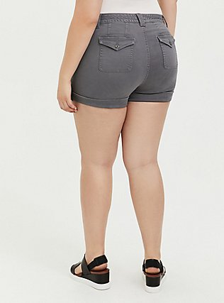 Plus Size Twill Military Short - Grey, SMOKED PEARL, alternate