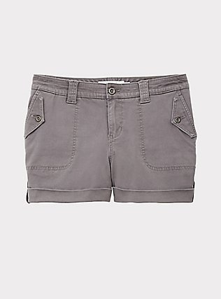 Plus Size Twill Military Short - Grey, SMOKED PEARL, flat