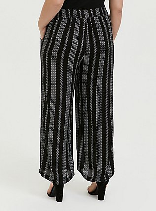 Black Diamond Stripe Crinkle Gauze Self Tie Wide Leg Pant, STRIPES, alternate