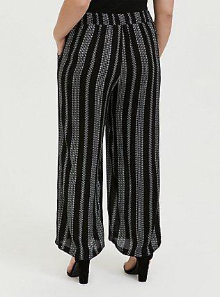 Plus Size Black Diamond Stripe Crinkle Gauze Self Tie Wide Leg Pant, STRIPES, alternate