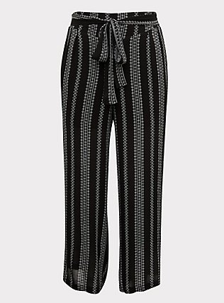 Black Diamond Stripe Crinkle Gauze Self Tie Wide Leg Pant, STRIPES, flat