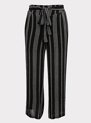 Plus Size Black Diamond Stripe Crinkle Gauze Self Tie Wide Leg Pant, STRIPES, flat