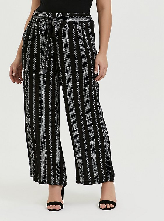 Black Diamond Stripe Crinkle Gauze Self Tie Wide Leg Pant, , hi-res