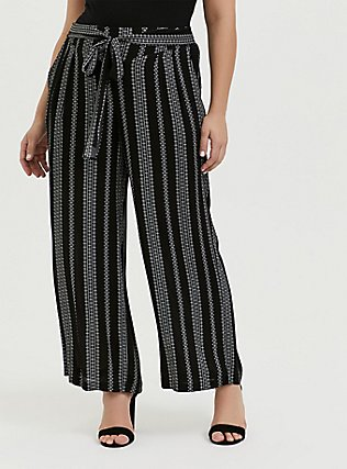 Black Diamond Stripe Crinkle Gauze Self Tie Wide Leg Pant, STRIPES, hi-res