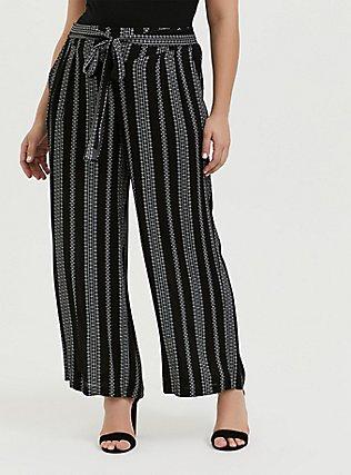 Plus Size Black Diamond Stripe Crinkle Gauze Self Tie Wide Leg Pant, STRIPES, hi-res