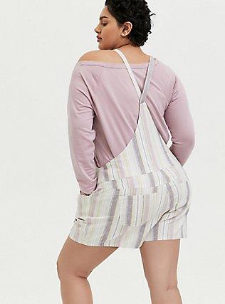 Plus Size Shortall - Linen Multi Stripe & White, STRIPES, alternate