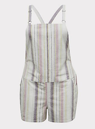 Plus Size Shortall - Linen Multi Stripe & White, STRIPES, flat