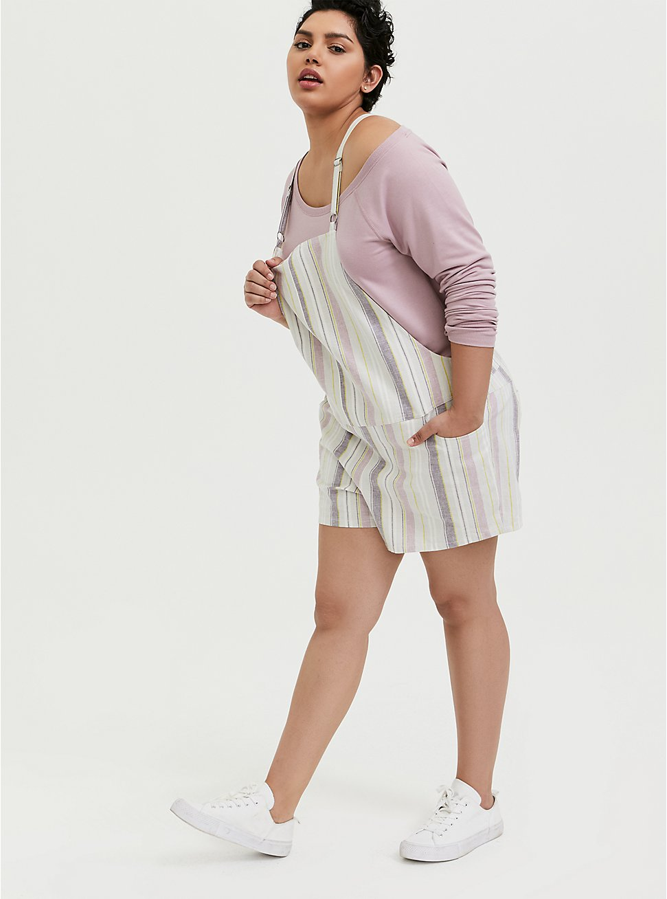 Shortall - Linen Multi Stripe & White, STRIPES, hi-res