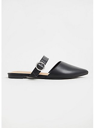 Black Faux Suede Belted Slip-On Mule (WW), BLACK, alternate