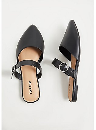 Black Faux Suede Belted Slip-On Mule (WW), BLACK, hi-res
