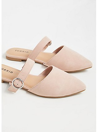 Blush Pink Faux Suede Belted Slip-On Mule (WW), BLUSH, alternate