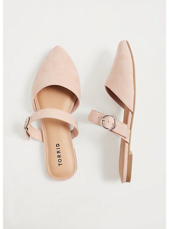 Plus Size Blush Pink Faux Suede Belted Slip-On Mule (WW), , hi-res