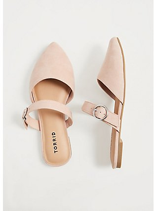 Blush Pink Faux Suede Belted Slip-On Mule (WW), BLUSH, hi-res