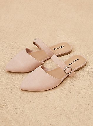 Blush Pink Faux Suede Belted Slip-On Mule (WW), BLUSH, pdped