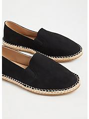 Plus Size Black Faux Suede Espadrille Flat (WW), BLACK, alternate