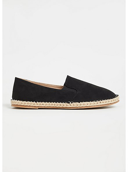 Black Faux Suede Espadrille Flat (WW), BLACK, alternate