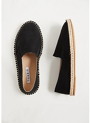 Black Faux Suede Espadrille Flat (WW), BLACK, hi-res