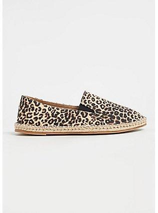 Plus Size Leopard Canvas Espadrille Flat (WW), ANIMAL, alternate