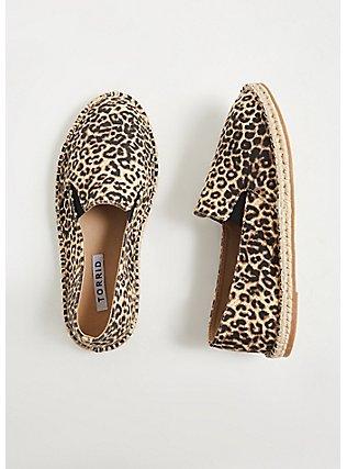 Plus Size Leopard Canvas Espadrille Flat (WW), ANIMAL, hi-res