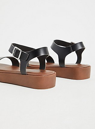 Black Faux Leather Ankle Strap Flatform Sandal (WW), BLACK, alternate